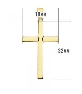 Cruz Lisa de Oro Amarillo 18 K 32 mm