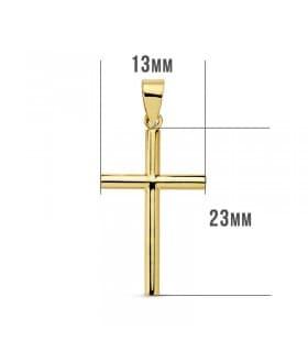 Cruz Lisa de Oro Amarillo 18 K 23 mm