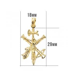 Cristo de la Legión Pequeño Oro 18K 29 mm Colgante Cruz Cristo