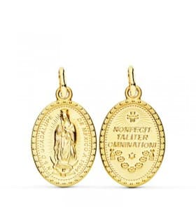 Medalla Escapulario Virgen Guadalupe México Oro 18k 21mm