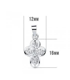 Colgante Cruz de Mujer Oro blanco 9K Circonitas 16mm