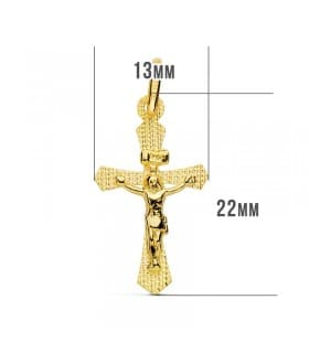 Cruz Plana Cristo de Oro Amarillo 18K 23 mm Láser