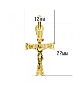 Cruz Plana Cristo de Oro Amarillo 18K 22 mm Láser