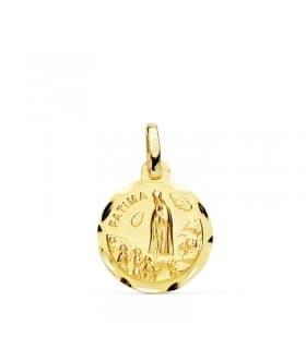 Medalla Virgen de Fátima Oro Amarillo 18 Ktes 12mm