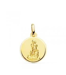 Medalla de la Virgen del Saliente Oro Amarillo 18 Ktes 14 MM