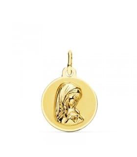 Medalla Virgen Niña Oro Amarillo 18 Ktes 14 mm