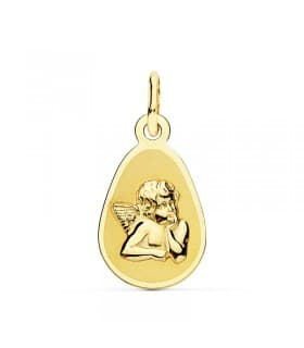 Medalla Ángel Burlón Oro Amarillo 18 Ktes 17 mm