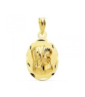 Medalla Virgen Niña Oro Amarillo 18 K 16 MM