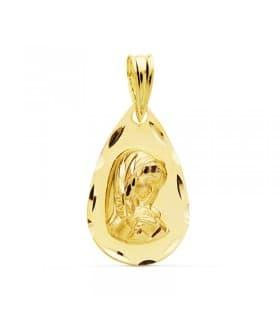 Medalla Virgen Niña Matizada Oro Amarillo 18 K 19 MM