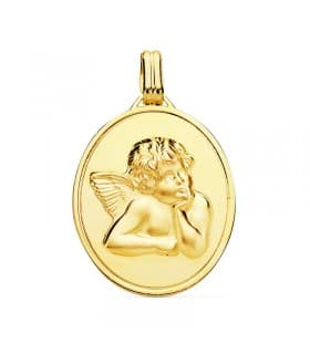 Medalla Ángel de la Guarda Oro Amarillo 18 K 24 mm