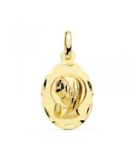 Medalla Virgen Niña Bisel Oro Amarillo 18 K 19 MM