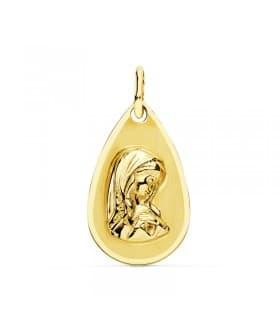 Medalla Virgen Niña Lágrima Oro Amarillo 18 K 19 MM