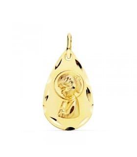 Medalla Virgen Niña Oro Amarillo 18 K 19 MM