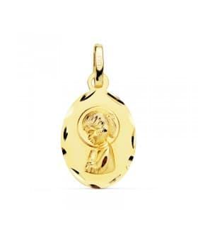 Medalla Virgen Niña Oval Calada Oro Amarillo 18 K 19 MM
