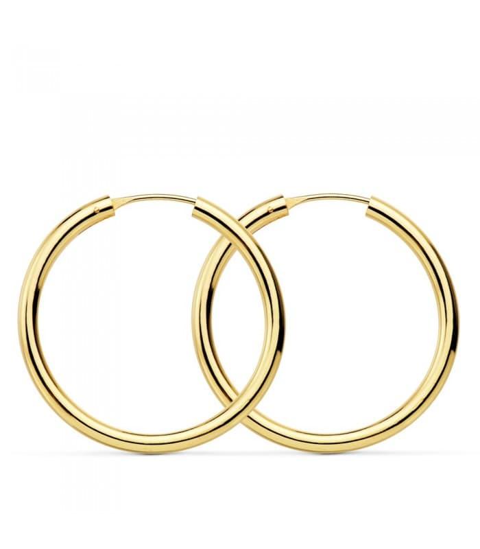 Pendientes oro amarillo Minerva 30mm 18 Ktes