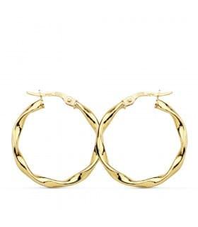 Aros Reliados trenzados moda mujer joyas Oro Amarillo 18 Kilates 25 MM pendientes espiral grandes hoops