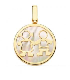 Colgante Medallón Mamá Oro Amarillo 18K Nácar Niño y Niña 20mm