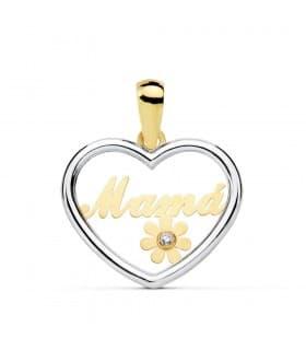 Colgante Corazón Mensaje Mamá Oro Bicolor 18K Charm joyas con mensaje día de la madre