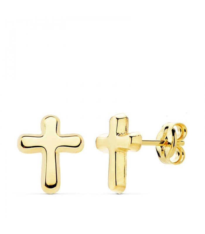 Pendientes Cruz Oro Amarillo 18 K 9 MM