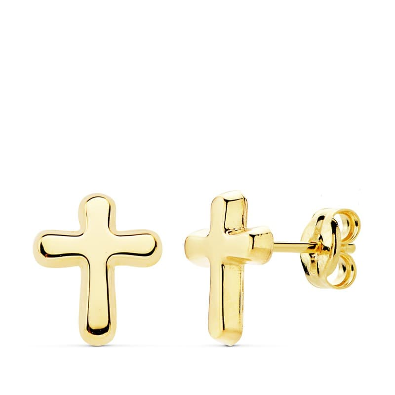 9ct Oro Amarillo Pendientes de Cruz Estampado