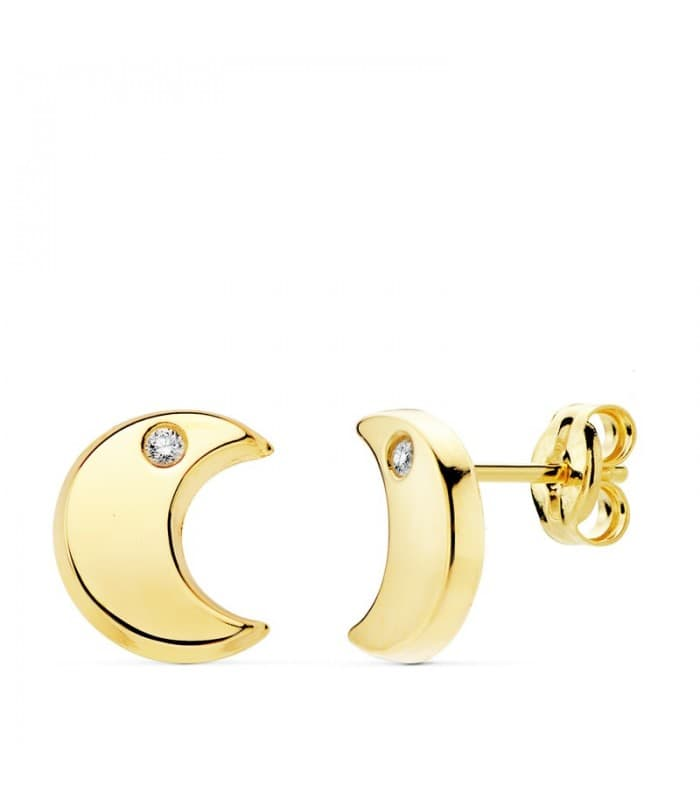 Pendientes Media Luna Oro Amarillo 18 K 9 MM