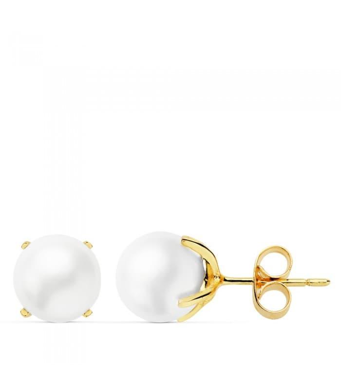 Pendientes de mujer Kimitsu Oro Amarillo 18K Perlas cultiuvadas 7 MM regalo niña madre