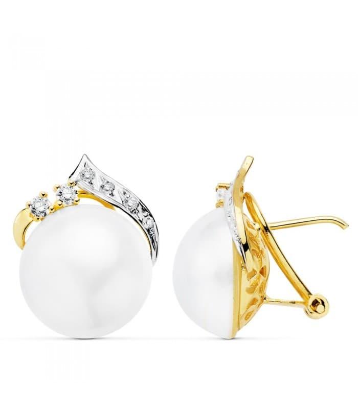 Pendientes Gen Perlas de Mabe Oro 18 K 14 MM