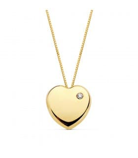 34acbd7987c6 Colgante Heart Oro Amarillo 18 K Collar corazón mujer con cadena veneciana