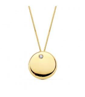 Colgante Ashley Oro Amarillo 18 K Collar Slim círculo chapa oro mujer