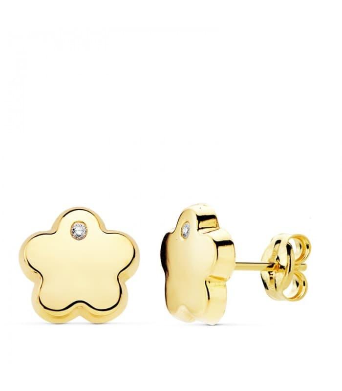 Pendientes Mujer Flor Circonita Oro Amarillo 18 K 9mm