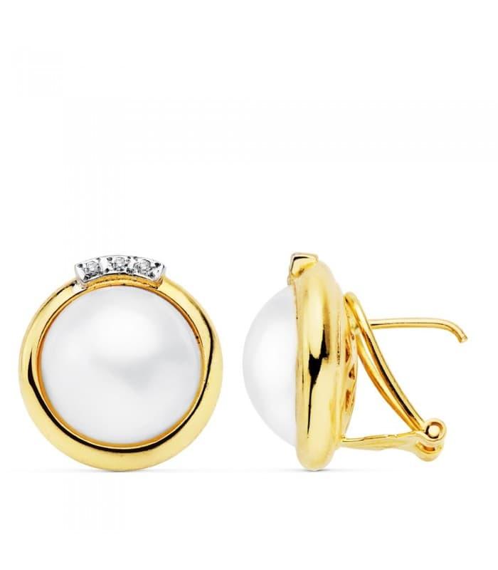 Pendientes Koemi Perlas de Mabe Oro 18 K 14 MM