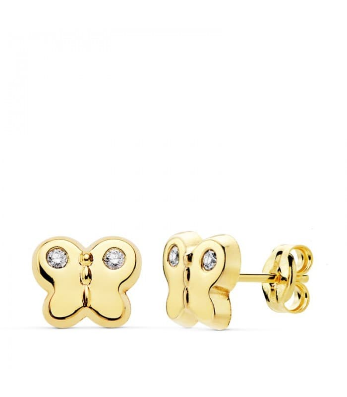 Pendientes Butterfly Oro Amarillo 18 K 9 MM