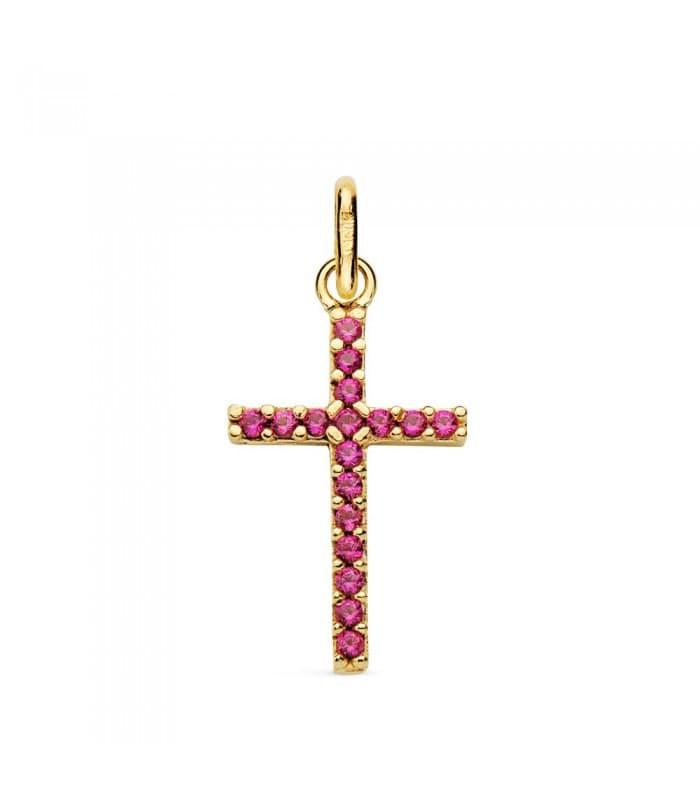 Colgante Cruz circonitas rosas oro 18 Kilates Collar moderno mujer