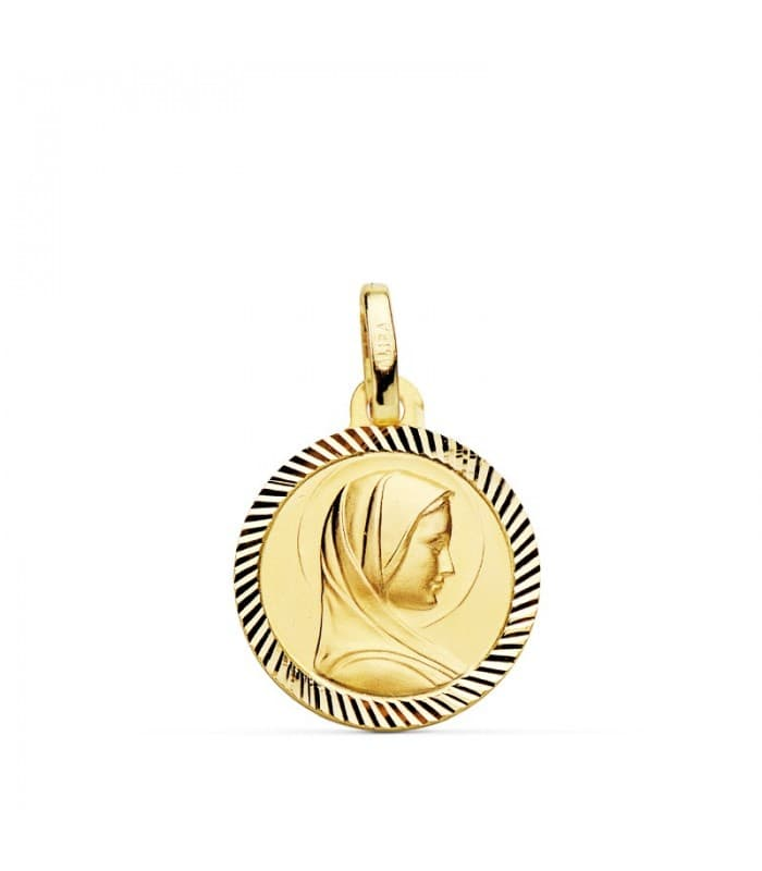 Medalla Virgen Francesa Bisel Oro 18 K 14 MM