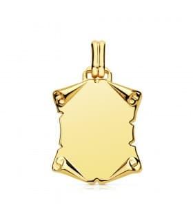 Placa Pergamino Liso Oro Amarillo 18 K 25 MM chapa colgante personalizado joya frase texto