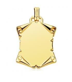 Placa Pergamino Liso Oro Amarillo 18 K 29 MM