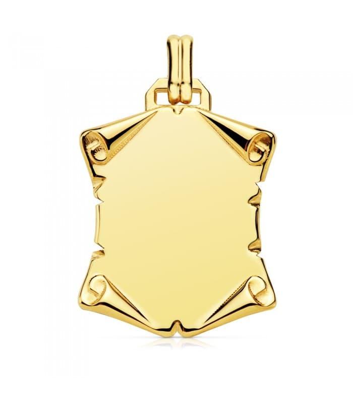 Placa Pergamino Liso Oro Amarillo 18 K 29 MM chapa colgante personalizado frase texto