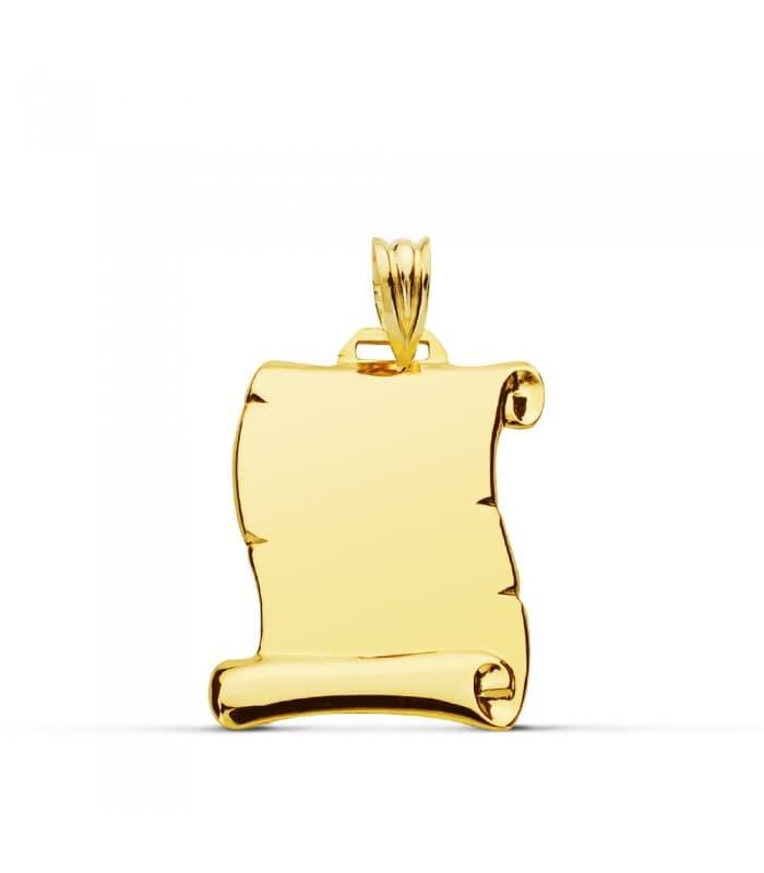 Placa Pergamino Liso Oro Amarillo 18 K 22 MM chapa colgante con grabado