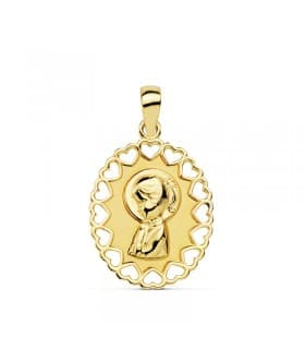 Medalla Virgen Niña Oro 18K joya personalizada colgante comunion grabado