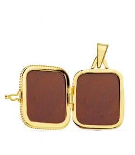 Portafotos Cuadrado Labrado Oro 18 K 21 MM