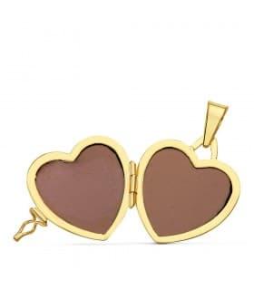 Portafotos Corazón Liso Oro 18 K 21 MM