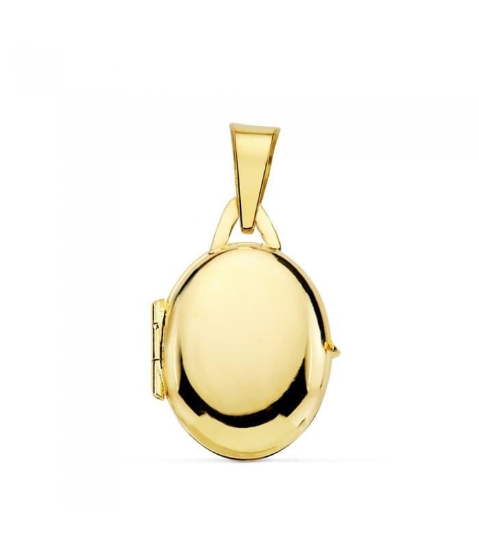 Portafotos Oval Liso Oro Amarillo 18K 18 MM