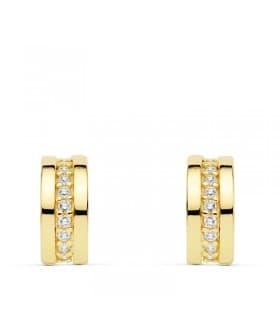 Pendientes Bandas Circonitas Oro Amarillo 18 K 11 MM