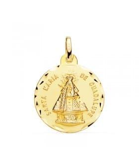 Colgante Medalla religiosa Sta. María de Guadalupe Oro 18 Kilates 18 mm