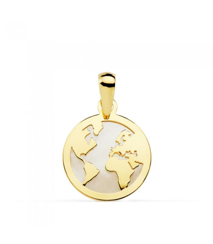 Colgante Mujer Oro amarillo 18 K Mundo Nácar 13 mm collar mapamundi