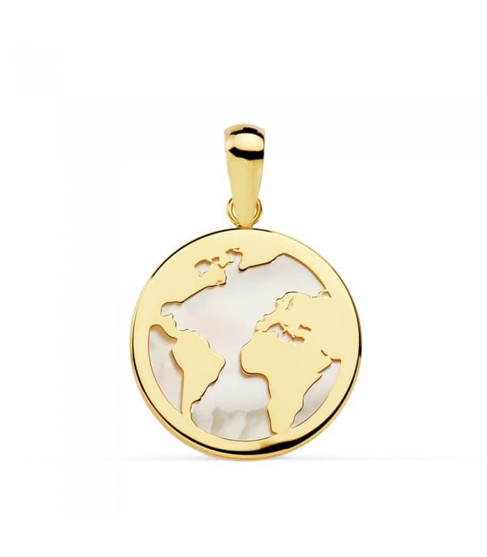 Colgante Mujer Oro 18 Kts Bola del Mundo Grande de Nácar 17 mm mapamundi verano