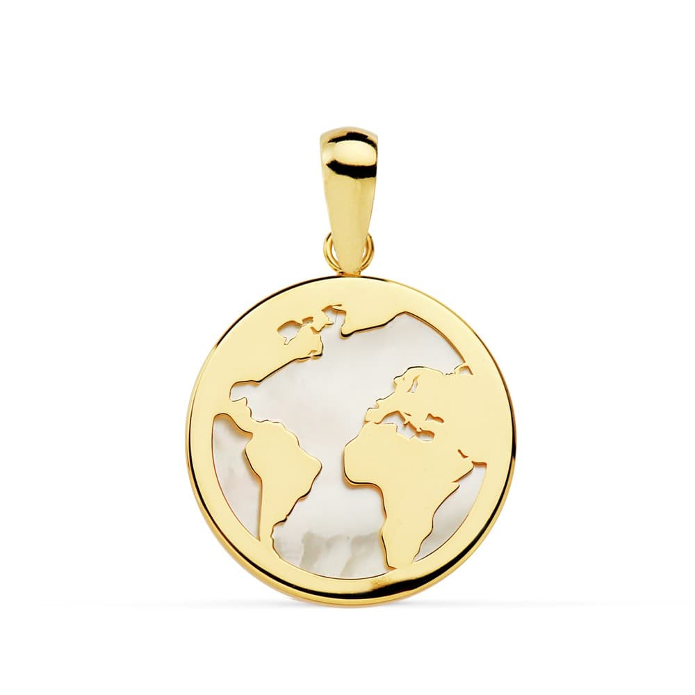5fc9ec1ae632 Colgante Mujer Oro 18 Kts Bola del Mundo Grande de Nácar 17 mm mapamundi  verano
