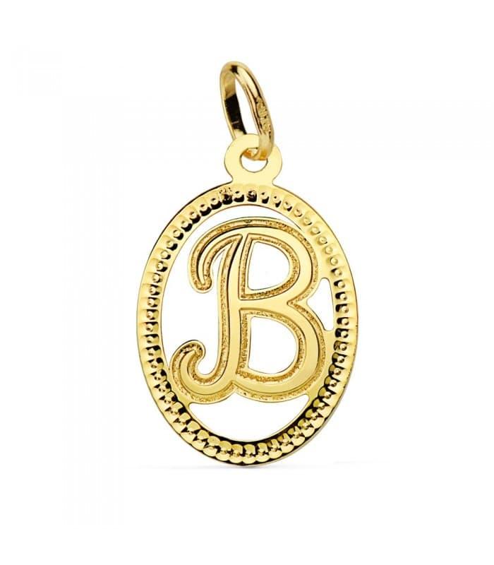 Colgante Tallado Letra B Oro Amarillo 18 K 18mm Collar inicial nombre mujer