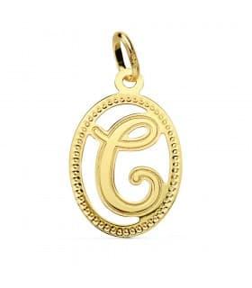Colgante Tallado Letra C Oro Amarillo 18 K 18 mm Collar inicial nombre mujer