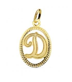 Colgante Tallado Letra D Oro Amarillo 18 Kts 18 mm Collar inicial nombre mujer